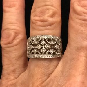Jewelry - Sterling Silver Filigree CZ Wide Band Ring💎